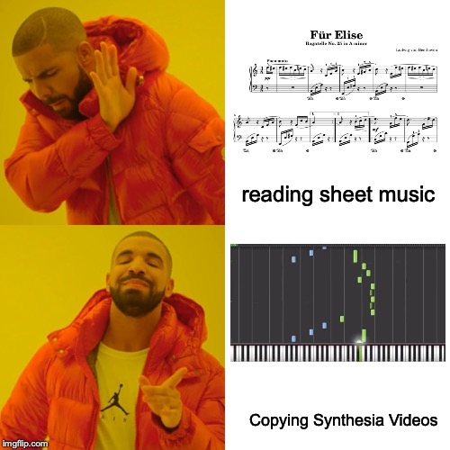 Drake Hotline Bling Meme | reading sheet music Copying Synthesia Videos | image tagged in memes,drake hotline bling | made w/ Imgflip meme maker