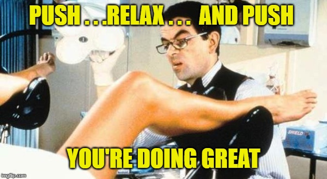 Gynocologist | PUSH . . .RELAX . . .  AND PUSH YOU'RE DOING GREAT | image tagged in gynocologist | made w/ Imgflip meme maker