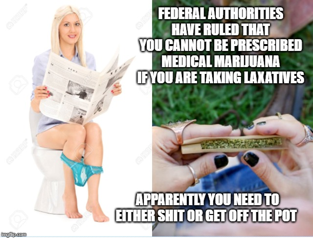 SHIT OR GET OFF THE POT | FEDERAL AUTHORITIES HAVE RULED THAT YOU CANNOT BE PRESCRIBED MEDICAL MARIJUANA IF YOU ARE TAKING LAXATIVES APPARENTLY YOU NEED TO EITHER SHI | image tagged in jokes,pot,medical marijuana,marijuana,toilet humor,panties | made w/ Imgflip meme maker