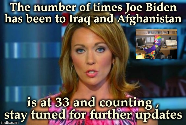 At some point he ran out of fingers | The number of times Joe Biden has been to Iraq and Afghanistan is at 33 and counting , stay tuned for further updates | image tagged in real news network,bite,go home youre drunk,president,dumbass,beware | made w/ Imgflip meme maker
