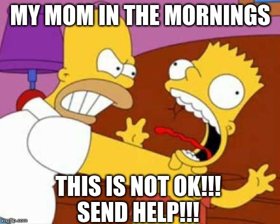 Homer Bart | MY MOM IN THE MORNINGS THIS IS NOT OK!!! SEND HELP!!! | image tagged in homer bart | made w/ Imgflip meme maker