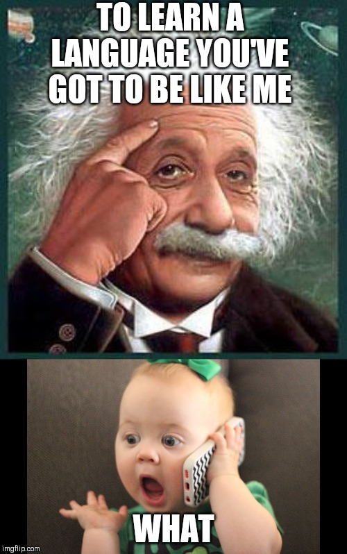 TO LEARN A LANGUAGE YOU'VE GOT TO BE LIKE ME WHAT | image tagged in einstein,funny baby | made w/ Imgflip meme maker