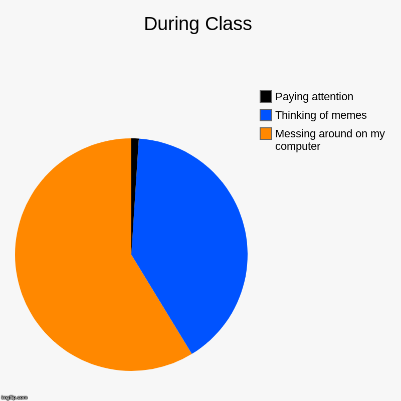 During Class | Messing around on my computer, Thinking of memes, Paying attention | image tagged in charts,pie charts | made w/ Imgflip chart maker