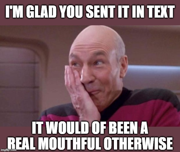 picard oops | I'M GLAD YOU SENT IT IN TEXT IT WOULD OF BEEN A REAL MOUTHFUL OTHERWISE | image tagged in picard oops | made w/ Imgflip meme maker