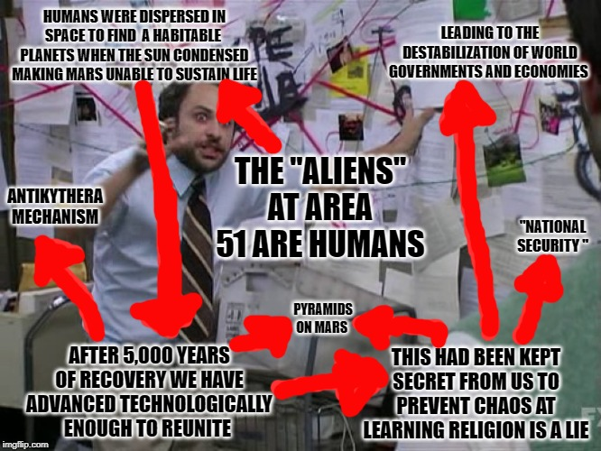"Conspiracy String  Theory | THE ""ALIENS"" AT AREA 51 ARE HUMANS HUMANS WERE DISPERSED IN SPACE TO FIND  A HABITABLE  PLANETS WHEN THE SUN CONDENSED MAKING MARS UNABLE TO 