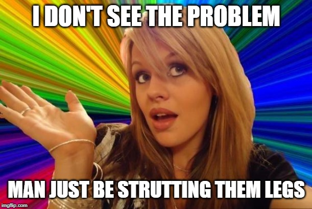 Dumb Blonde Meme | I DON'T SEE THE PROBLEM MAN JUST BE STRUTTING THEM LEGS | image tagged in memes,dumb blonde | made w/ Imgflip meme maker