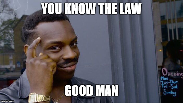 Roll Safe Think About It Meme | YOU KNOW THE LAW GOOD MAN | image tagged in memes,roll safe think about it | made w/ Imgflip meme maker