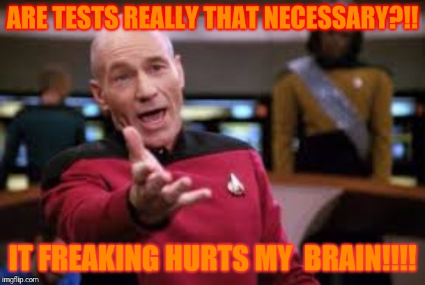 I hate tests!!! | ARE TESTS REALLY THAT NECESSARY?!! IT FREAKING HURTS MY  BRAIN!!!! | image tagged in oh cmon | made w/ Imgflip meme maker