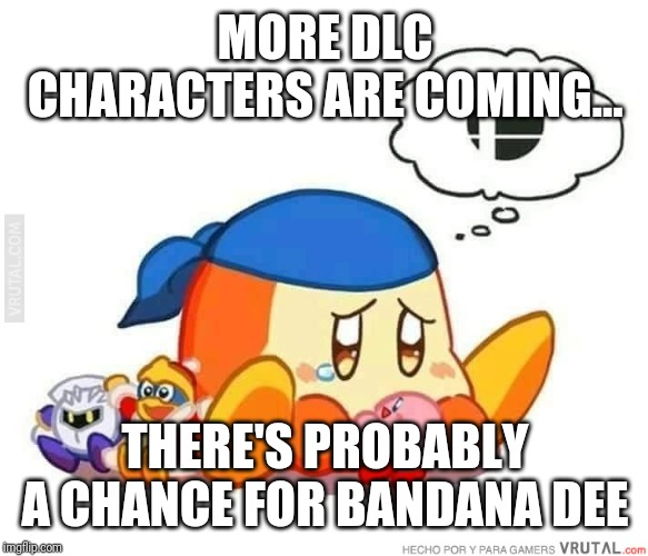 MORE DLC CHARACTERS ARE COMING... THERE'S PROBABLY A CHANCE FOR BANDANA DEE | image tagged in sad bandana dee,smash bros,memes | made w/ Imgflip meme maker