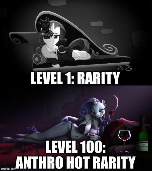 Rarity level boss |  LEVEL 1: RARITY; LEVEL 100: ANTHRO HOT RARITY | image tagged in rarity,my little pony friendship is magic,mlp fim,sfm,anthro,mafia city | made w/ Imgflip meme maker