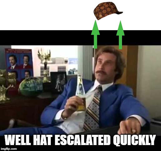 Well, Hat Escalated Quickly. | WELL HAT ESCALATED QUICKLY | image tagged in memes,well that escalated quickly | made w/ Imgflip meme maker