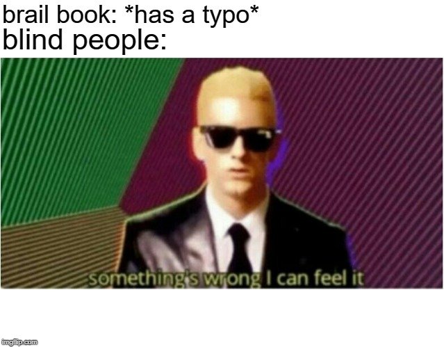 Rap God - Something's Wrong | brail book: *has a typo* blind people: | image tagged in rap god - something's wrong | made w/ Imgflip meme maker
