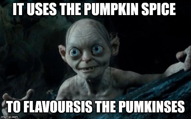 IT USES THE PUMPKIN SPICE TO FLAVOURSIS THE PUMKINSES | image tagged in pumpkin,pumpkin spice,pumpkins,gollum,lord of the rings | made w/ Imgflip meme maker