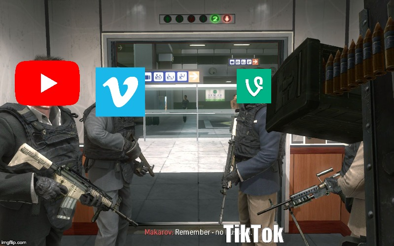 no tik tok | TikTok | image tagged in no russian,tik tok,youtube,vimeo,vine | made w/ Imgflip meme maker