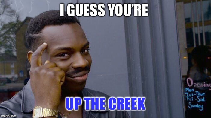 Roll Safe Think About It Meme | I GUESS YOU'RE UP THE CREEK | image tagged in memes,roll safe think about it | made w/ Imgflip meme maker