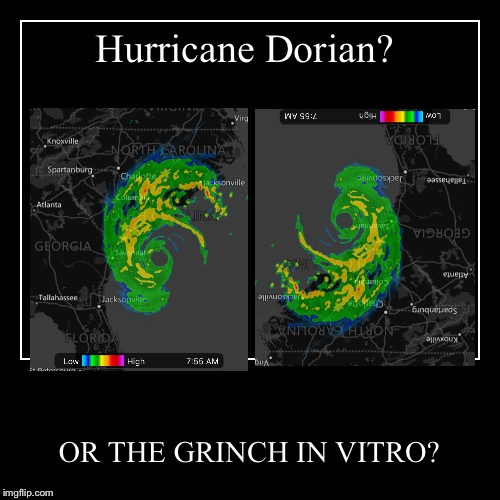 Hurricane Dorian...? | Hurricane Dorian? | OR THE GRINCH IN VITRO? | image tagged in funny,demotivationals,hurricane dorian,hurricanes,the grinch | made w/ Imgflip demotivational maker