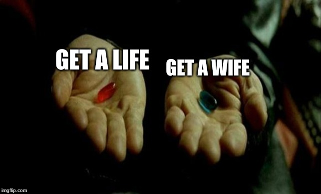 Matrix Pills | GET A LIFE GET A WIFE | image tagged in matrix pills | made w/ Imgflip meme maker