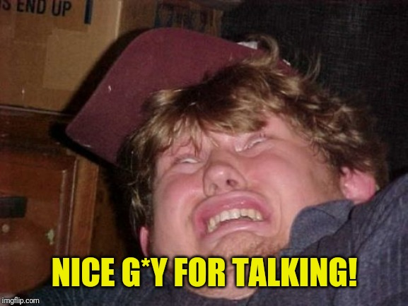 WTF Meme | NICE G*Y FOR TALKING! | image tagged in memes,wtf | made w/ Imgflip meme maker