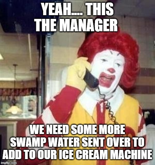 Ronald McDonald Temp | YEAH.... THIS THE MANAGER WE NEED SOME MORE SWAMP WATER SENT OVER TO ADD TO OUR ICE CREAM MACHINE | image tagged in ronald mcdonald temp | made w/ Imgflip meme maker