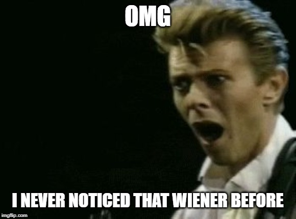 Offended David Bowie | OMG I NEVER NOTICED THAT WIENER BEFORE | image tagged in offended david bowie | made w/ Imgflip meme maker