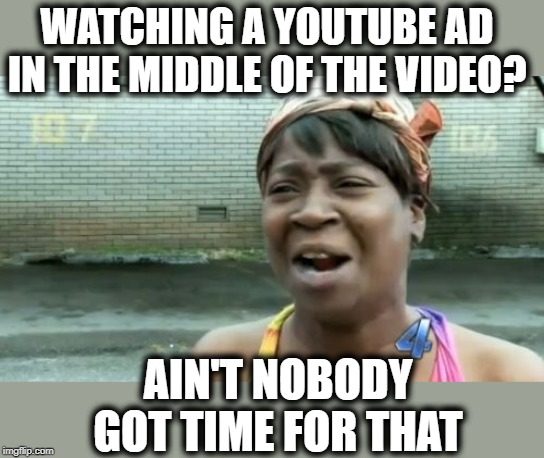 Aint Nobody Got Time For That | WATCHING A YOUTUBE AD IN THE MIDDLE OF THE VIDEO? AIN'T NOBODY GOT TIME FOR THAT | image tagged in memes,aint nobody got time for that | made w/ Imgflip meme maker