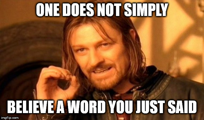 One Does Not Simply Meme | ONE DOES NOT SIMPLY BELIEVE A WORD YOU JUST SAID | image tagged in memes,one does not simply | made w/ Imgflip meme maker