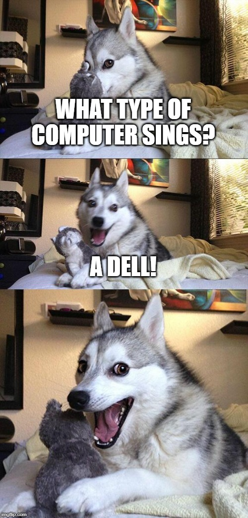 Bad Pun Dog Meme | WHAT TYPE OF COMPUTER SINGS? A DELL! | image tagged in memes,bad pun dog | made w/ Imgflip meme maker