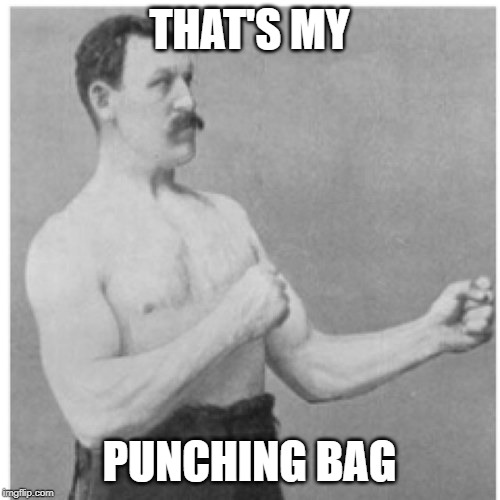 THAT'S MY PUNCHING BAG | image tagged in memes,overly manly man | made w/ Imgflip meme maker