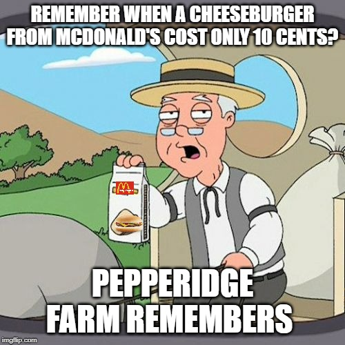 Wish I could go back in time and buy one for so cheap. | REMEMBER WHEN A CHEESEBURGER FROM MCDONALD'S COST ONLY 10 CENTS? PEPPERIDGE FARM REMEMBERS | image tagged in memes,pepperidge farm remembers,mcdonalds,cheeseburger | made w/ Imgflip meme maker