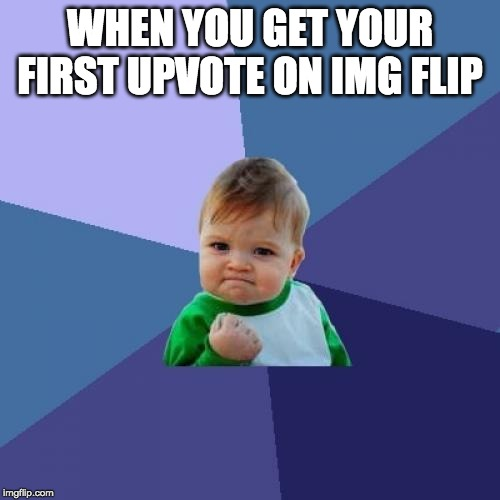 Success Kid Meme | WHEN YOU GET YOUR FIRST UPVOTE ON IMG FLIP | image tagged in memes,success kid | made w/ Imgflip meme maker