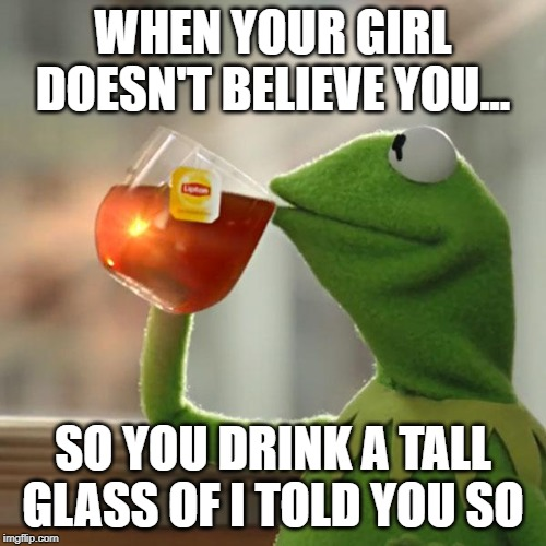 I do believe | WHEN YOUR GIRL DOESN'T BELIEVE YOU... SO YOU DRINK A TALL GLASS OF I TOLD YOU SO | image tagged in dating,truth hurts,funny memes,boyfriend,girlfriend,kermit the frog | made w/ Imgflip meme maker