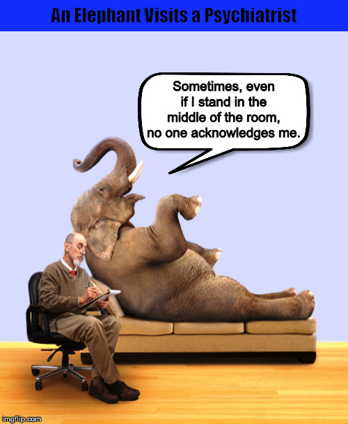 An Elephant Visits a Psychiatrist | image tagged in elephant,elephant in the room,psychiatrist,problem,funny,memes | made w/ Imgflip meme maker