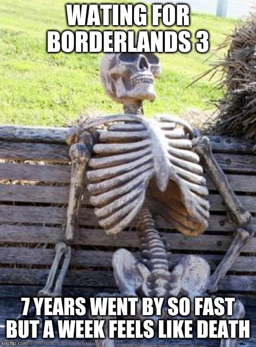 Waiting Skeleton | WATING FOR BORDERLANDS 3 7 YEARS WENT BY SO FAST BUT A WEEK FEELS LIKE DEATH | image tagged in memes,waiting skeleton | made w/ Imgflip meme maker