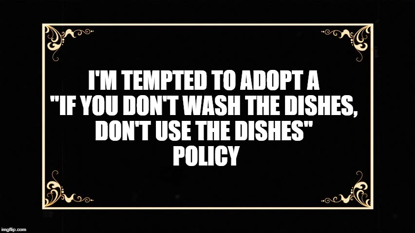 "Dishes Policy | I'M TEMPTED TO ADOPT A   ""IF YOU DON'T WASH THE DISHES,  DON'T USE THE DISHES""   POLICY 