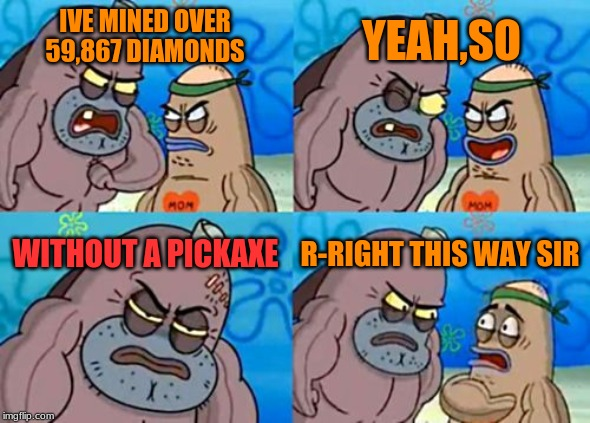 How Tough Are You | IVE MINED OVER 59,867 DIAMONDS YEAH,SO WITHOUT A PICKAXE R-RIGHT THIS WAY SIR | image tagged in memes,how tough are you | made w/ Imgflip meme maker