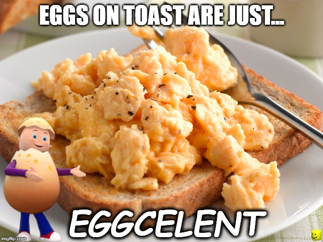 EGGCELENT | EGGS ON TOAST ARE JUST... EGGCELENT | image tagged in egg,puns,fun,toast,memes | made w/ Imgflip meme maker