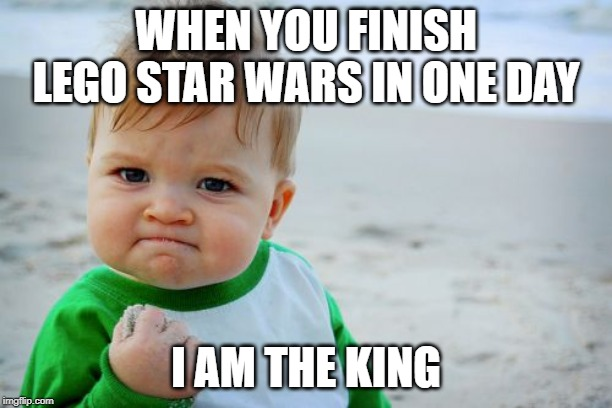 Success Kid Original Meme | WHEN YOU FINISH LEGO STAR WARS IN ONE DAY I AM THE KING | image tagged in memes,success kid original | made w/ Imgflip meme maker