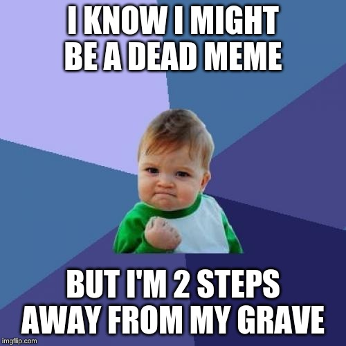 Success Kid Meme | I KNOW I MIGHT BE A DEAD MEME BUT I'M 2 STEPS AWAY FROM MY GRAVE | image tagged in memes,success kid | made w/ Imgflip meme maker
