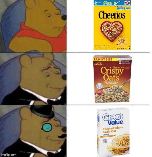 Let's Try it Again | image tagged in tuxedo winnie the pooh 3 panel,cheerios,off brand | made w/ Imgflip meme maker