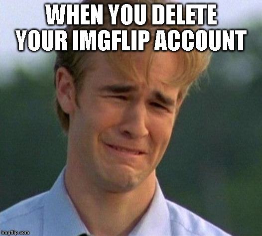 I mentioned this on my other meme, but I am Meming_Loser, and I deleted my account in a rage. |  WHEN YOU DELETE YOUR IMGFLIP ACCOUNT | image tagged in memes,1990s first world problems | made w/ Imgflip meme maker