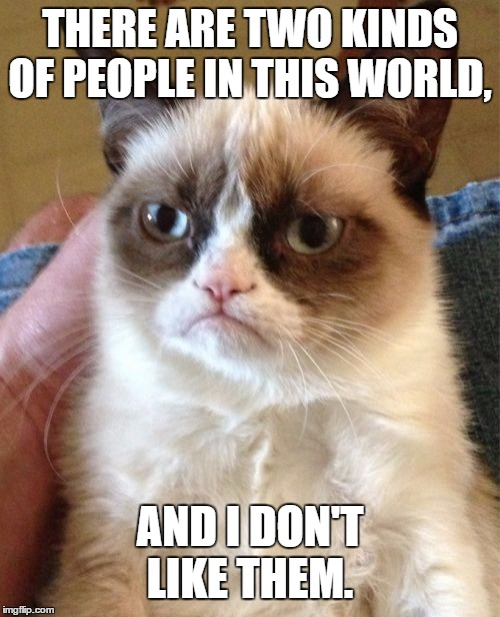 Grumpy Cat Meme | THERE ARE TWO KINDS OF PEOPLE IN THIS WORLD, AND I DON'T LIKE THEM. | image tagged in memes,grumpy cat,random,people | made w/ Imgflip meme maker