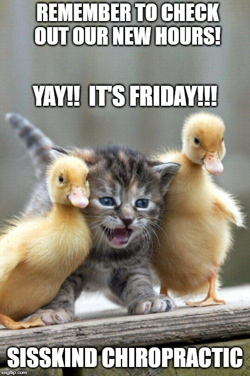 Happy Friday | YAY!!  IT'S FRIDAY!!! SISSKIND CHIROPRACTIC REMEMBER TO CHECK OUT OUR NEW HOURS! | image tagged in happy friday | made w/ Imgflip meme maker