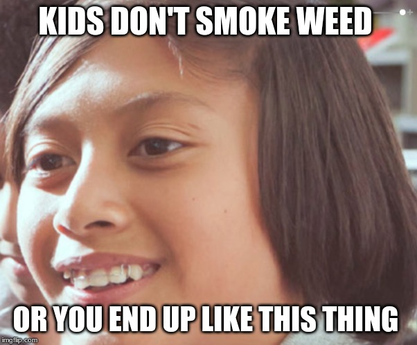 don't smoke weed | KIDS DON'T SMOKE WEED OR YOU END UP LIKE THIS THING | image tagged in funny meme | made w/ Imgflip meme maker