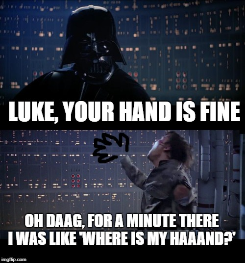 Star Wars No Meme | LUKE, YOUR HAND IS FINE OH DAAG, FOR A MINUTE THERE I WAS LIKE 'WHERE IS MY HAAAND?' | image tagged in memes,star wars no | made w/ Imgflip meme maker
