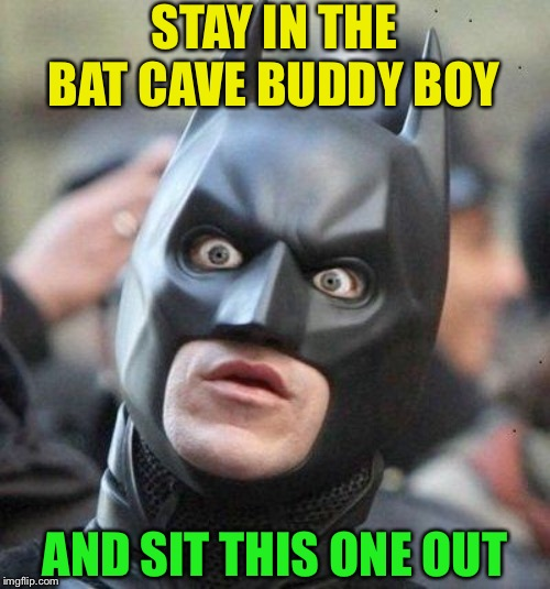 Shocked Batman | STAY IN THE BAT CAVE BUDDY BOY AND SIT THIS ONE OUT | image tagged in shocked batman | made w/ Imgflip meme maker