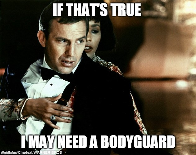 Bodyguard | IF THAT'S TRUE I MAY NEED A BODYGUARD | image tagged in bodyguard | made w/ Imgflip meme maker