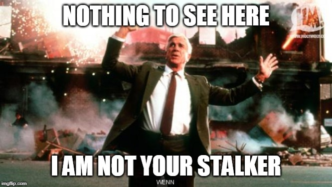 Nothing to See Here | NOTHING TO SEE HERE I AM NOT YOUR STALKER | image tagged in nothing to see here | made w/ Imgflip meme maker