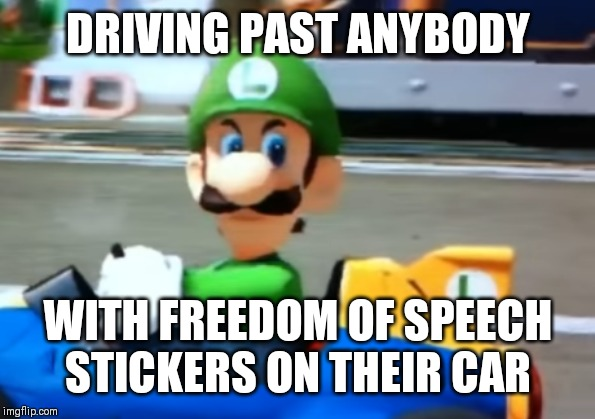 DRIVING PAST ANYBODY WITH FREEDOM OF SPEECH STICKERS ON THEIR CAR | image tagged in luigi death stare | made w/ Imgflip meme maker