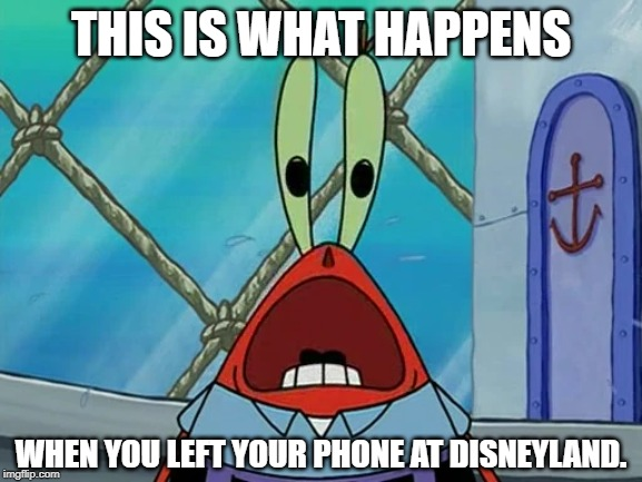 Panic Mr. Krabs | THIS IS WHAT HAPPENS WHEN YOU LEFT YOUR PHONE AT DISNEYLAND. | image tagged in mr krabs,iphone,disneyland | made w/ Imgflip meme maker