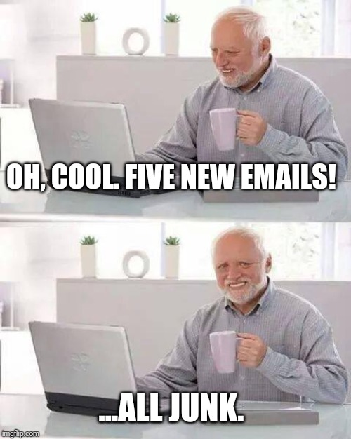 Those doggone junk mails! | OH, COOL. FIVE NEW EMAILS! ...ALL JUNK. | image tagged in memes,hide the pain harold,junk mail | made w/ Imgflip meme maker